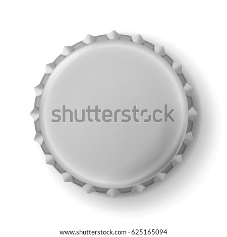 Beer Cap Vector. Cap Side Top Back View For Branding Close Up Isolated on White Background