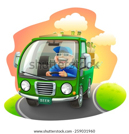 beer car illustration - stock vector