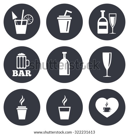 Beer, coffee and tea icons. Beer, wine and cocktail signs. Soft and alcohol drinks symbols. Gray flat circle buttons. Vector