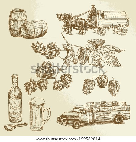 beer collection, hand drawn illustration - stock vector
