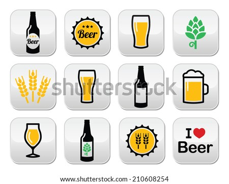 Beer colorful vector buttons set - bottle, glass, pint - stock vector