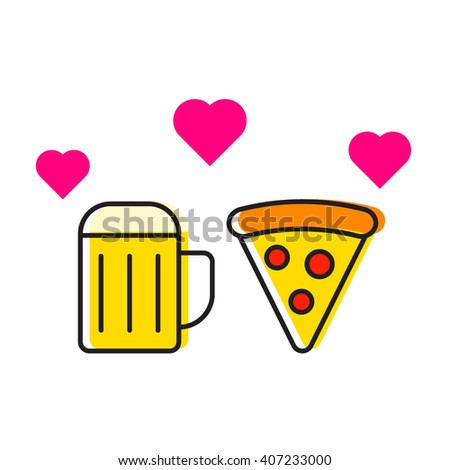 Beer cup and pizza with hearts icon flat vector on white background. For those who love beer and pizza. Element for logo design - stock vector