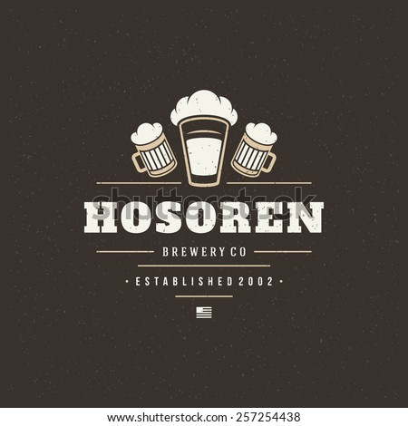 Beer Design Element in Vintage Style for Logotype, Label, Badge, T-shirts and other design. Brewery retro vector illustration. - stock vector