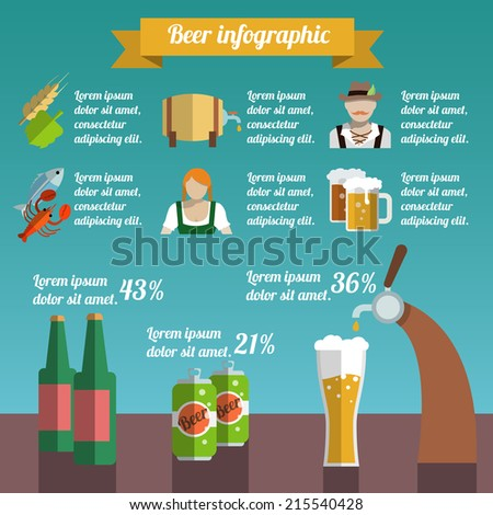 Beer draught and bottle alcohol beverage infographic set vector illustration - stock vector