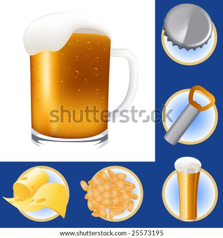 Beer elements, vector illustration, EPS file included - stock vector