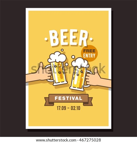 Beer festival, event poster. Two hands holding the beer bottle and beer glass. Vector illustration in flat style.