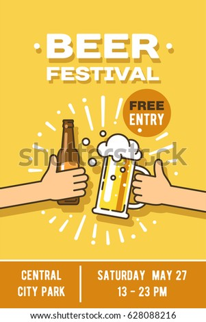 Beer Festival In The City Event Poster Vector Illustration