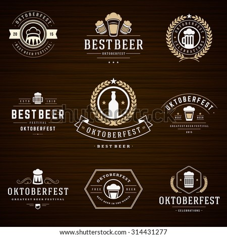 Beer festival Oktoberfest celebrations retro style labels, badges and logos set with beer mug on wooden background. Vector illustration.