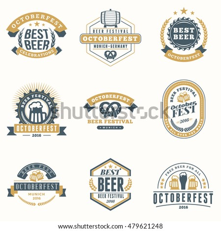 Beer Festival Oktoberfest celebrations. Set of retro vintage beer badges, labels, emblems. Vector design elements