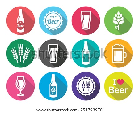 Beer flat design round icons set - bottle, glass, pint  - stock vector