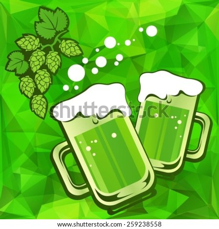 Beer glass and hop on a green background.  - stock vector