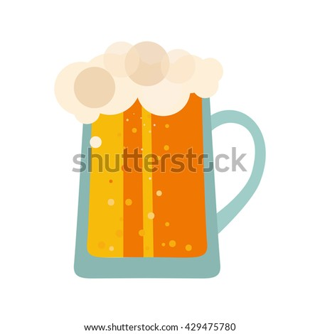 Beer glass cups icons. Beer bottle isolated, label, mug. Oktoberfest beer logo pub. Vector illustration EPS10 - stock vector