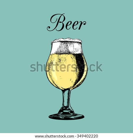Beer glass isolated. Vector glass of beer. Vector illustration of beer glass. Beer illustration. Hand drawn sketch of beer glass with foam. Cocktail bar menu. Cocktail party. Alcoholic drink.Beer icon - stock vector