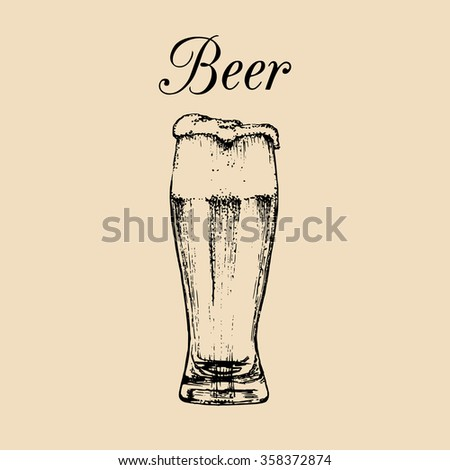 Beer glass isolated. Vector illustration of alcoholic drink. Hand drawn sketch of beer glass with foam. Restaurant, bar, pub menu design.