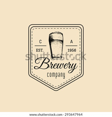 Beer glass. Old brewery. Beer labels. Brewery sketch. Beer bar. Brewery background. Craft beer. Beer  illustration. Vector vintage brewery logo. Retro logotype with beer elements. Hipster beer logo.  - stock vector