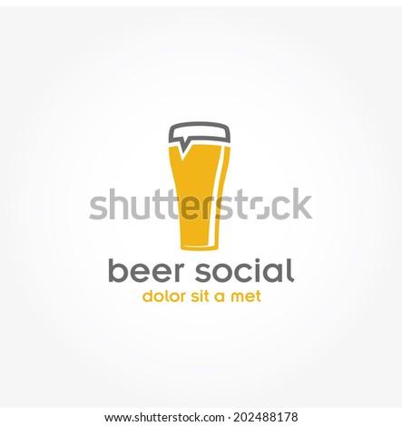 beer glass pub vector design template - stock vector