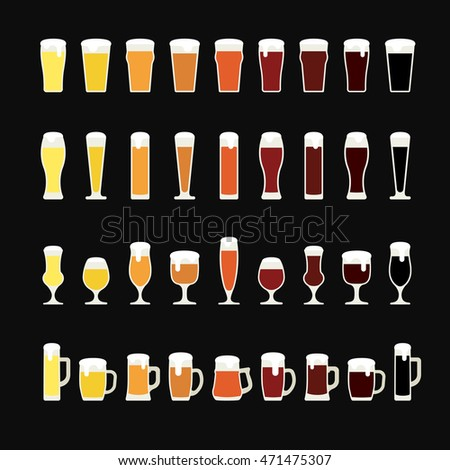 Beer glass. Rows of beer from light to dark in variety of glasses and mugs. Beer icons. Vector illustration