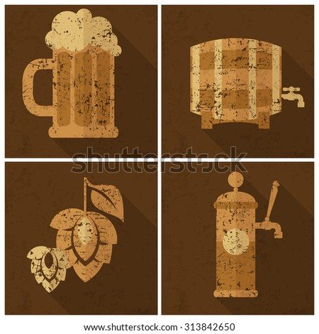 Beer glass with barley and hop cones, Oktoberfest set, vector illustration - stock vector