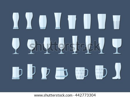 Beer glasses and mugs flat icon