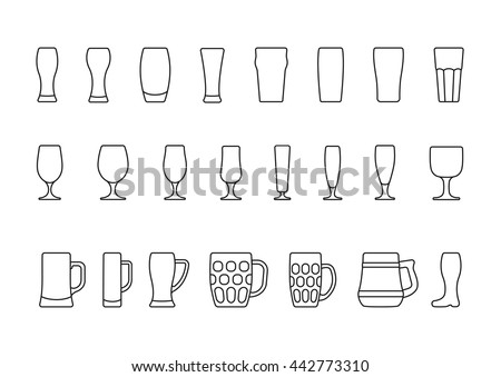 Beer glasses and mugs minimal line icon