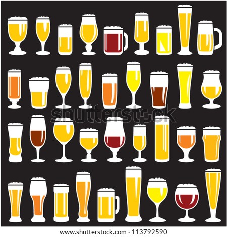 Beer glasses set. Beer mugs. Bar menu background vector easy change colors. 36 different vector forms. - stock vector