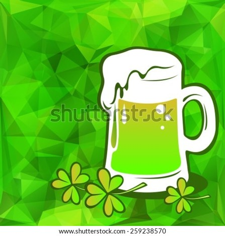 Beer green glass on a green polygonal background.  - stock vector