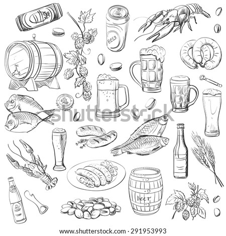 beer hand drawing set of vector sketches on white background