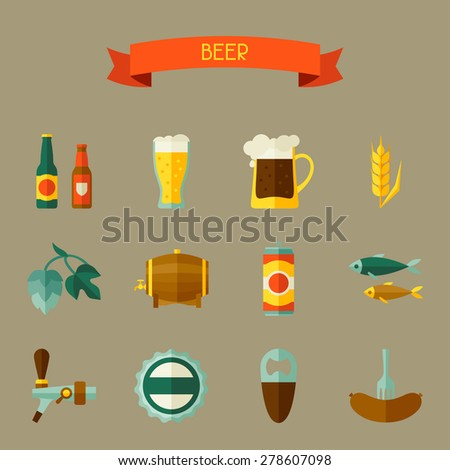 Beer icon and objects set for design. - stock vector