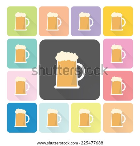 Beer Icon color set vector illustration. - stock vector