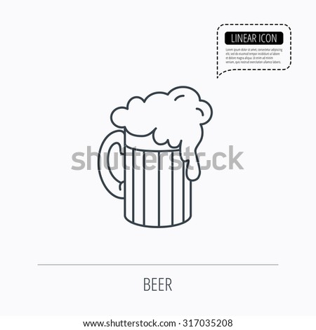 Beer icon. Glass of alcohol drink sign. Brewery symbol. Linear outline icon. Speech bubble of dotted line. Vector