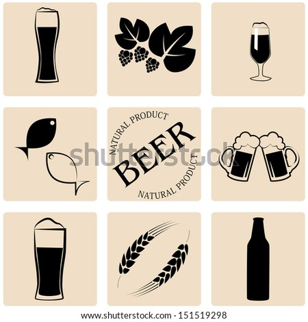 beer icons and labels - stock vector
