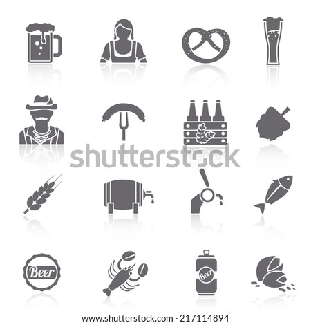 Beer icons black set with barrel bottle glass and fork with sausage isolated vector illustration - stock vector
