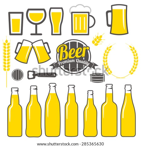 Beer icons, labels, signs, symbols and design elements vector set  - stock vector