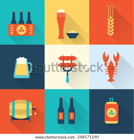 Beer icons set - stock vector