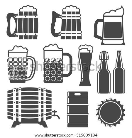 beer icons set (beer glass, beer mug, wooden mug, wooden barrel, bottle cap, beer bottles, keg). Beer template. Vector illustration.  - stock vector