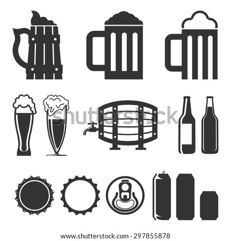beer icons set (hop branch, wooden barrel, glass of beer, beer can, bottle cap, beer mug), on a white background - stock vector