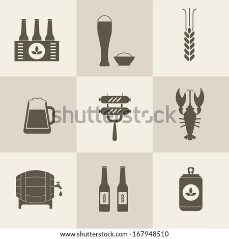 Beer icons set vector - stock vector