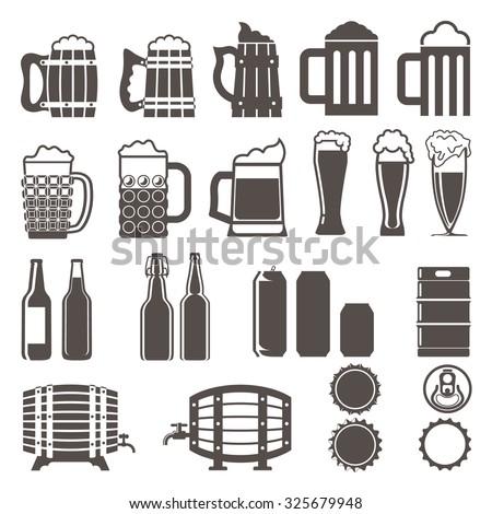 beer icons set. Wooden barrel, glass of beer, beer can, bottle cap, beer mug, beer bottles, keg. vector illustration. - stock vector