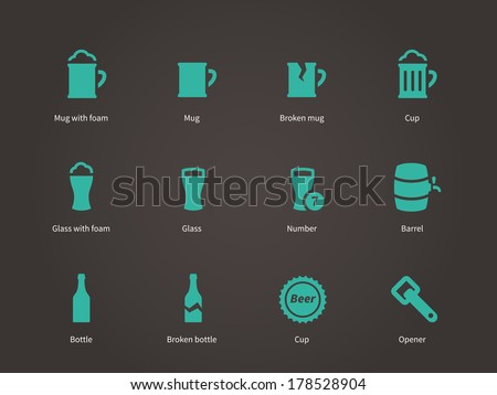 Beer icons. Vector illustration. - stock vector