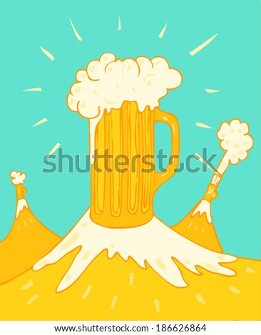 Beer in glass vector illustration, hand drawn - stock vector
