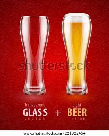 Beer in the glass and empty transparent goblet for drinks. Eps10 vector illustration. - stock vector