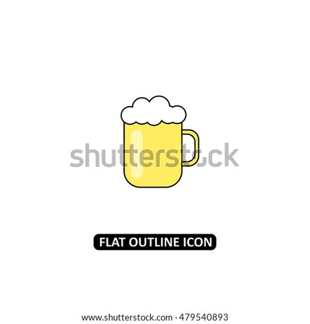 Beer in the glass icon. Light beer glass colored line icon