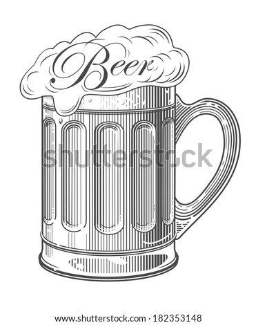 Beer in vintage engraving style on transparent background - stock vector