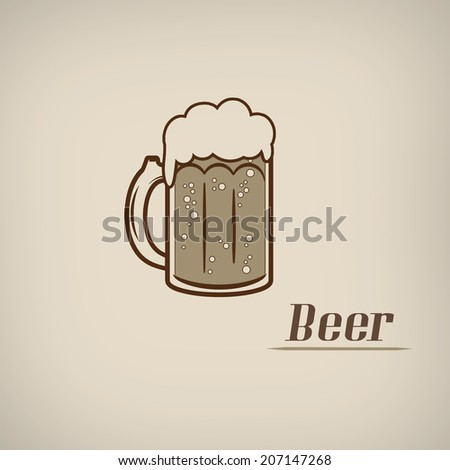 Beer in vitage style poster with beer glass symbol, vector illustration