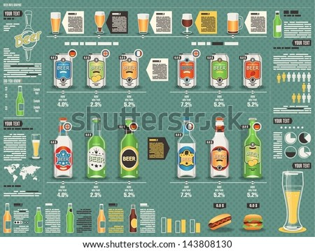 Beer info graphic,vector background  - stock vector