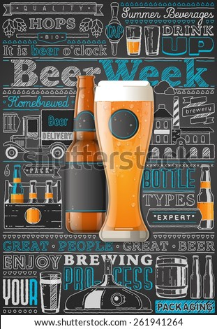 beer infographic background, vector illustration - stock vector