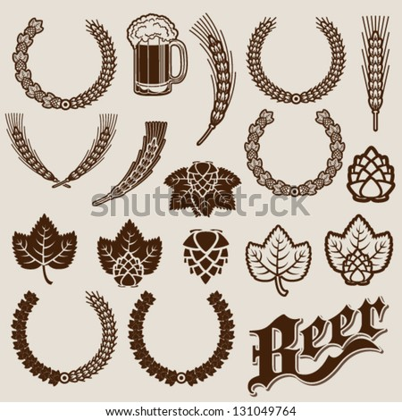 Beer Ingredients Ornamental Designs - stock vector