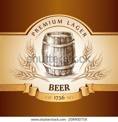 beer keg  for label, package.vintage barrel . wheat ear - stock vector