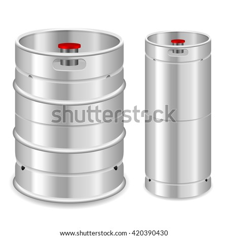 Beer keg set on a white background. - stock vector