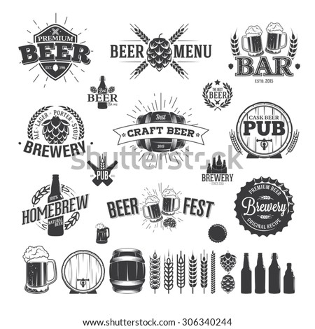 Beer Label and Logos - stock vector